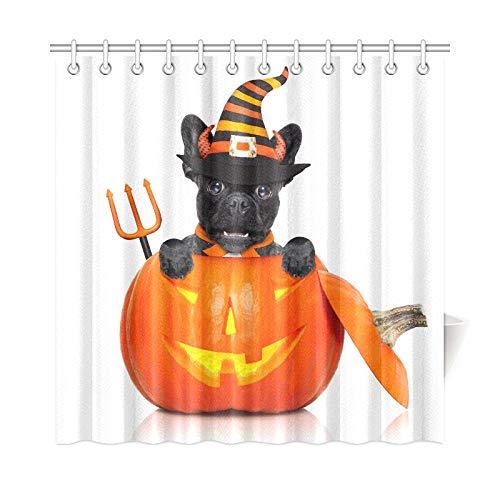JOCHUAN Wohnkultur Bad Vorhang Halloween Devil Französische Bulldogge Hund Innen Polyester Stoff Wasserdicht Duschvorhang Für Badezimmer, 72X72 Zoll Duschvorhang Haken Enthalten