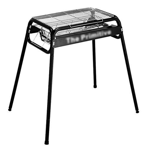 Barbecue@ Griglia Carbone di Legna BBQ Ripiano per Grigliare A Carbone Selvaggio Set Rimovibile Griglia Regolabile in Acciaio Inox All'aperto per Uso Domestico Carbone