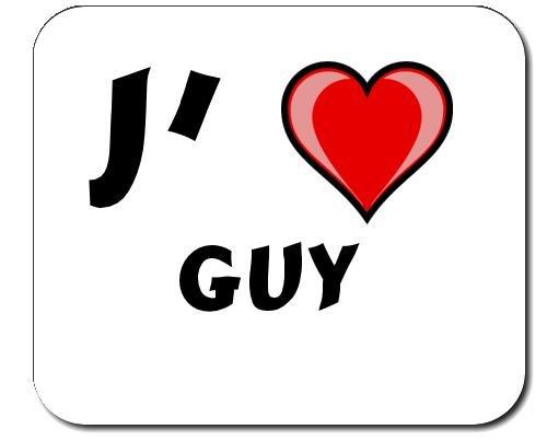 Tapis de souris avec une inscription: J'aime Guy (Noms/Prénoms)