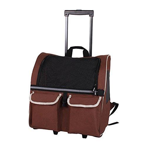 Pettom Pet Rolling Transportbox Back Pack Fluggesellschaften Zugelassen Hunde Katze Rad Um Gepäck Tasche, Large-Hold Pets up to 17 lbs, Braun
