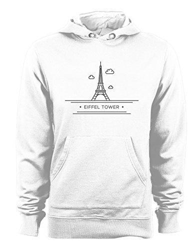 Felpa con cappuccio Città - Parigi - Tour Eiffel - - Tutte le taglie Bianco