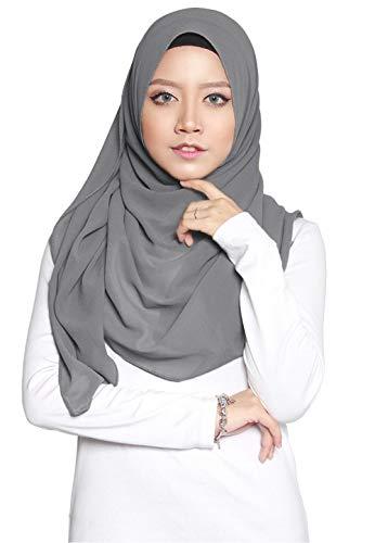 ❤️ SAFIYA - Hijab Kopftuch für muslimische Frauen I Islamische Kopfbedeckung 75 x 180 cm I Damen Gesichtsschleier, Schal, Pashmina, Turban I Musselin / Chiffon - Dunkelgrau