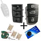 Für Audi A3 A4 A5 A6 TT Tastenfeld Funkschlüssel Schlüssel + 3x Taster Mikroschalter + Batterie CR2025