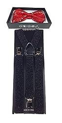 4everstore 4everStore Unisexs Sequin Bow tie & Suspender Sets (Red Bow & Black Susp)