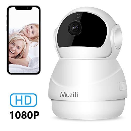 IP Kamera Muzili 1080P HD WiFi Überwachungskamera Wireless Home Security Monitor mit 360 °Rotation 2-Wege-Audio Zoom Nachtsicht Bewegungserkennung Telefon Alarm Micro SD-Karte Aufnahme für Smartphones Alarm-telefon