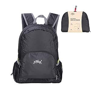 GHB Faltbarer Rucksack Ultraleicht Rucksack 25L Daypack,Leichter Faltbarer Rucksack für Männer, Frauen und Kinder für Outdoor Wandern Camping Reisen - Schwarz