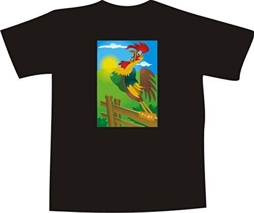 T-Shirt F1109 Schönes T-Shirt mit farbigem Brustaufdruck - krähen Hähne Mehrfarbig