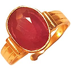 RS JEWELLERS Gemstones 5.24 Ratti Natural Certified RUBY manik Gemstone Panchdhatu Ring ,Pukhraj Birthstone Astrology Ring