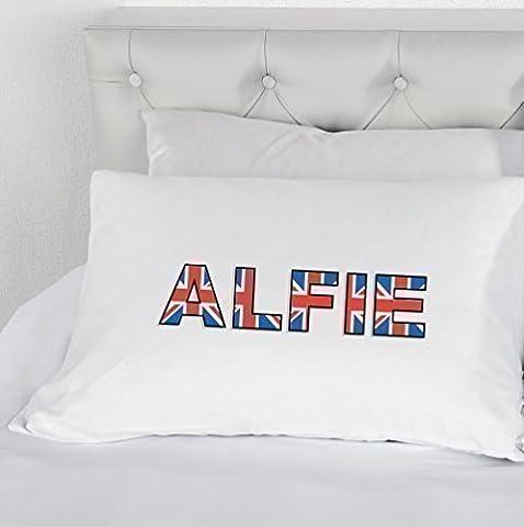Taie d'oreiller personnalisée Nom Union Jack nouveauté garçons filles Taie d'oreiller cadeau de cadeau personnalisée