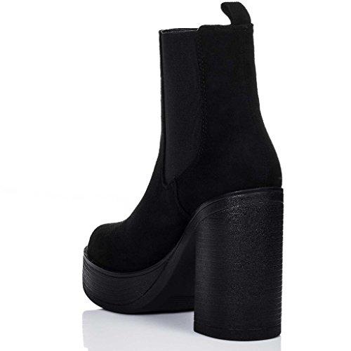 SPYLOVEBUY LOFI Damen Plateau Blockabsatz Chelsea Boots Stiefeletten Schwarz - Synthetik Wildleder
