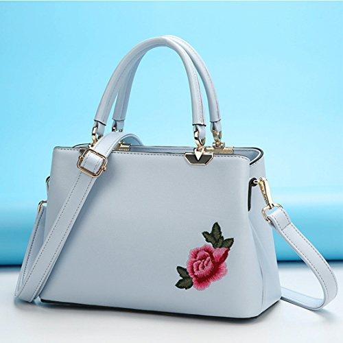 HBOS Damen Elegant PU-Leder Schultertasche mit Rose Drucken 26*12*17cm Grau