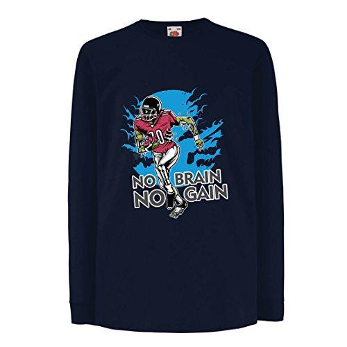 lepni.me Kinder-T-Shirt mit Langen Ärmeln Kein Gehirn, Kein Gewinn! Zombie Football Player - Inspirierende Fußball Zitate (14-15 Years Blau Mehrfarben) (T-shirt Medizinische Humor)