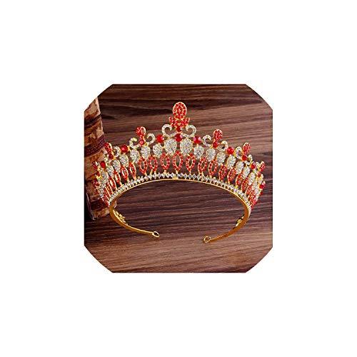 Hohl Kristall Hochzeit Diadem Strass Königin Tiaras und Kronen-Stirnband für Zubehör, Rot