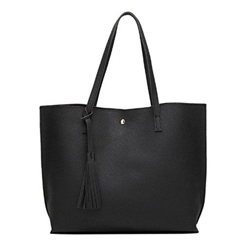 Swallowuk Damen Fashion Retro elegant Shopper-Tasche Handtaschen Umschlag Schulterbeutel (Schwarz)