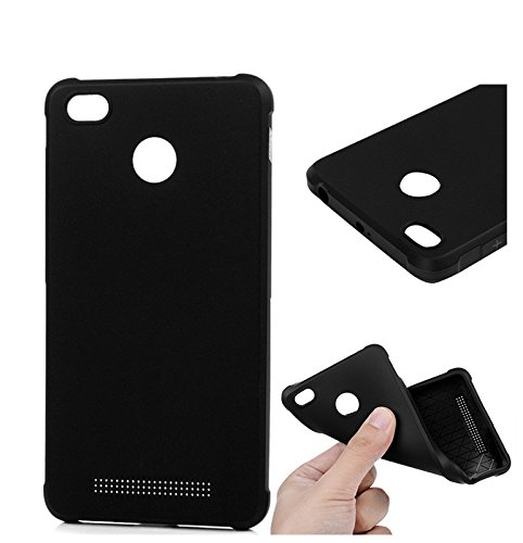V CAN Premium Flexible Soft Silicone Rubber TPU Cover Ultra Slim Shockproof Resistance Protective Back Soft Bumper Case Cover for Xiaomi Redmi 3S - (Black)