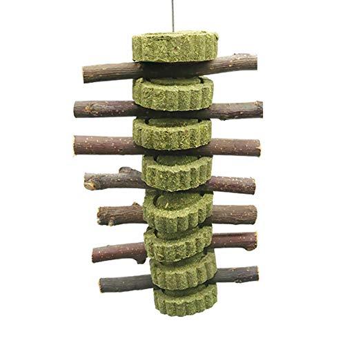 1Pc Pet Snack Spielzeug mit Gras Kuchen Natürliche Graskugel Kaninchen Hamster Meerschweinchen Apfel Holz Molar-Stick Pet Toys