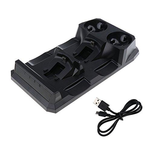 Homyl Chargeur De Contrôleur PS4, Double Station De Recharge USB, 4 En 1 Chargeur Rapide Pour Sony PlayStation 4 PS Move VR
