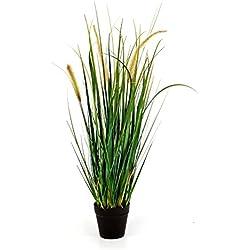 artplants Deko-Fuchsschwanzgras FEHMI mit 3 Gelb-Braunen Rispen, grün, 60 cm - Künstliches Gras/Dekobündel