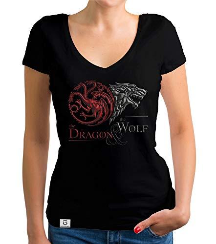 Shirtdepartment - Game of Thrones - Damen T-Shirt V-Ausschnitt - Dragon and Wolf Wappen schwarz-dunkelrot XXL - Wappen Schwarzes T-shirt