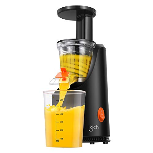 Slow Juicer IKICH 64RPM Golden Ratio Speed Slow Masticating Juicer with Juice Recipes, 200W Quiet Efficient Motor, Reverse Function, BPA-Free, FDA Approved, Cold Press Juicer for Vegetable and Fruit