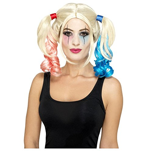 Ladies Twisted Harlequin Pink and Blue Dip Dye Bunches Wig Halloween Accessory (Dragon Lady Perücke Für Erwachsene)