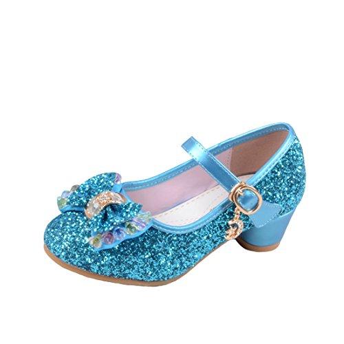 O&N Prinzessin Gelee Partei Absatz-Schuhe Sandalette Stöckelschuhe für Kinder(Size 27 EU) Blau