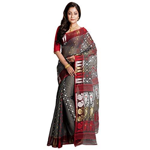 Avik Creations Women's Bengal Dhakai Jamdani Handloom Silk Cotton Saree New Bengali...