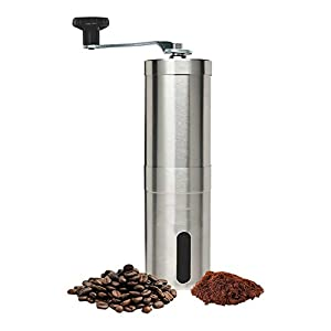 Shopshopdirect Manual Coffee Grinder Conical Burr Mill for Precision Brewing Brushed Stainless Steel