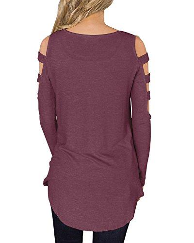 ACHIOOWA Femme Sexy Tunique Tops à Bretelle Col Rond Manches Longues Casual Loose Haut Shirt Longue Violet