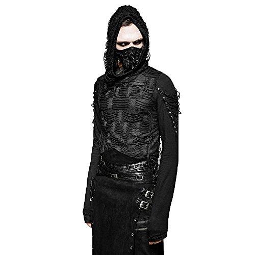 Steampunk Herren Doppelschichten Unregelmäßigen Langarmshirts Mit Kapuze Gothic Dekadenten Schwarz Mode T Shirt Für Männer (L-2XL)