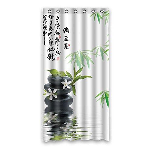 Retro Stil grün Bambus einfach muster design Polyester Fabrics wasserabweisend Generic Duschvorhänge,90 cm x183 cm (36
