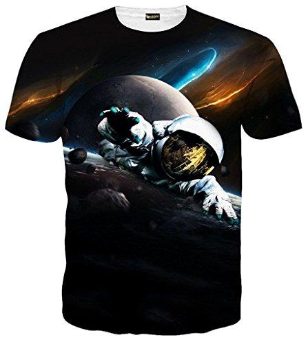 Pizoff Unisex Digital Print Schmale Passform T Shirts mit Karikatur 3D Muster C7058-02