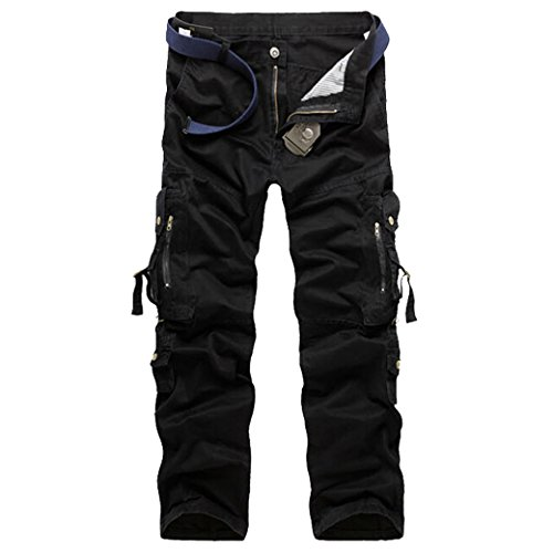 Panegy Pantalones de Lavado Algodón Pantalón Cargo Multibolsillos Cargo Pants con Cinturón para Hombre Senderismo Acampada Trekking Outdoor 30 - Negro