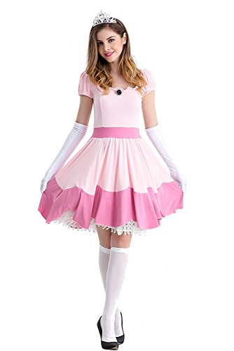 rfest Karneval Kostüm Dirndl Traditionelles Kleid Halloween Maid Kostüm, Rosa, EU S=Tag M (Prinzessin Adult Halloween Kostüme)