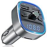 Bovon Transmetteur FM Bluetooth, Kit Voiture Émetteur FM sans Fil Adaptateur Radio Lecteur MP3 avec Appel Main Libre, Dual USB Ports 5V/2.4A & 1A Chargeur Voiture, Soutien Carte SD/Clé USB (Gris)