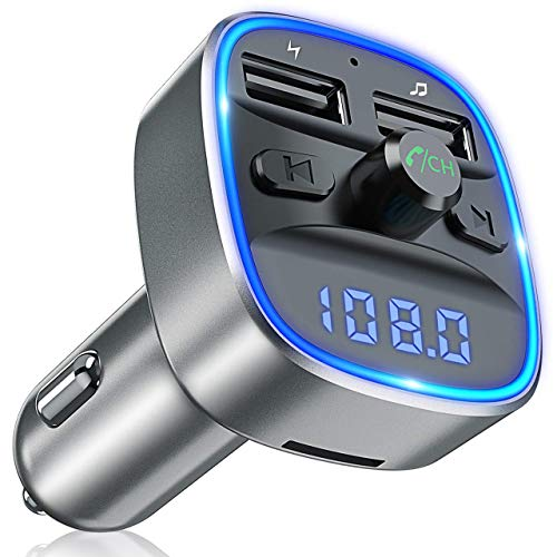 Bovon Bluetooth FM Transmitter Auto Radio Adapter, Auto Ladegerät mit 2 USB Anschlüsse und Freisprecheinrichtung, [mit Blauem Umgebungslicht], Unterstützt TF Karte & USB-Stick