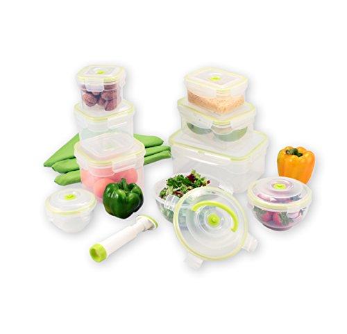 FranquiHOgar Juego de 9 envases al vacío + bomba: 3 envases cúbicos + 3 envases prismáticos + 3 envases esféricos + Bomba vacío.