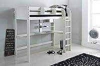 Scallywag Kids High Sleeper Bed - White - Straight Ladder - Integral Desk & Shelves. Made In The UK.