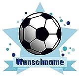Samunshi Fussball Wandtattoo Türschild mit Name personalisierbar Kinderzimmer Türaufkleber Baby Wandaufkleber in 9 Größen (40x35cm Mehrfarbig)