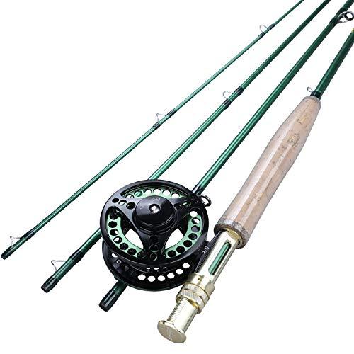 LMEI-QUN, # 5/6 Fliegenruten-Set und ultraleichte Kohlefaser-Fliegenruten und Pesca-Fliegenrollen (Color : Weiß)