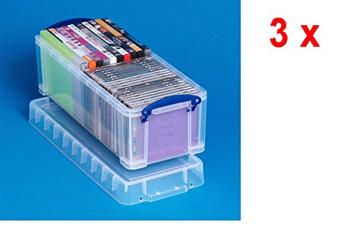 3 x Really Useful Box 6.5 Liter - 430x180x160mm - für 36 CDs/20 DVDs - transparent