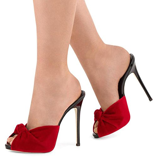 L@YC Frauen High Heels Samtknoten Sandalen Drag / Red / Schwarz Red cT6L6U