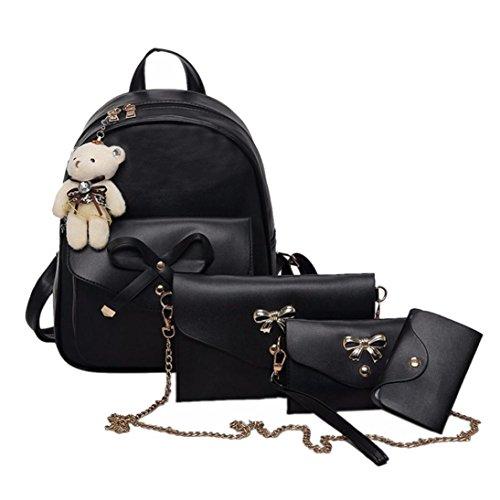 UFACE 4 Bow Ms. Tasche SäTze Frauen Vier Rucksack Handtasche Schultertasche StüCke Einkaufstasche Crossbody (Schwarz)