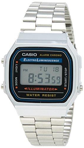 Casio Unisex Digital mit Edelstahl Armbanduhr A168WA 1W