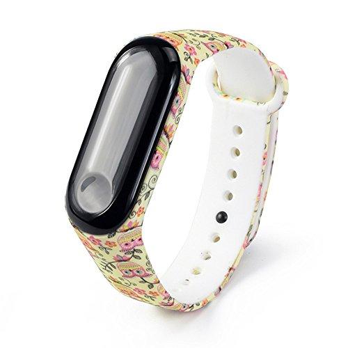 alt drucken ersatz Armband für xiaomi mi Band 3,hohe qualität weichem silikon,einstellbare komfortable robuste langlebige handschlaufe,länge 240mm/breite 16mm ()