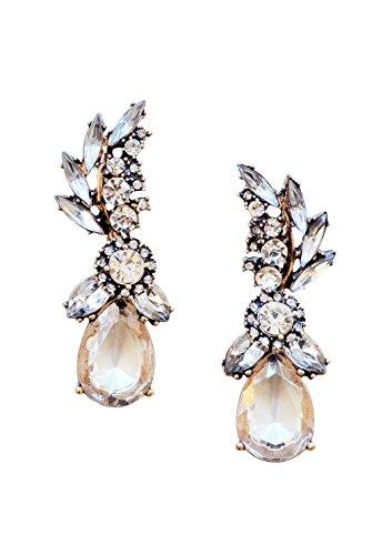 Happiness Boutique Damen Statement Ohrringe Gold Strasssteine Kristall | Hochzeit Große XXL Ohrstecker Chandelier weiß nickelfrei