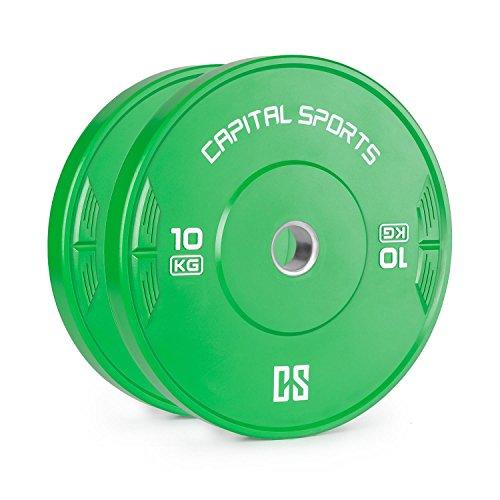 Capital Sports Nipton • Discos de peso • Discos para barras • Goma endurecida • 10 kg • Dimensiones de competición • Orificio estándar de 50,4 mm para todo tipo de barras • Verde