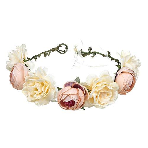(Limeo Garland Kranz Halo Brautschmuck Blumen Haarband Blumen Stirnband Kopfband Kopfband Stirnband Rose Haarband Haarband Damen Haarband mädchen Haarband Blumen Rose Haarband (Champagnerfarbe))