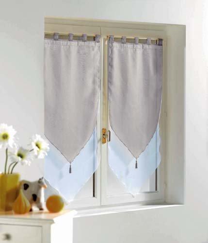 Douceur d'Intérieur - Paire Pompon Voile Bicolore - Blanc/Gris - 2 x 60 x 120 cm