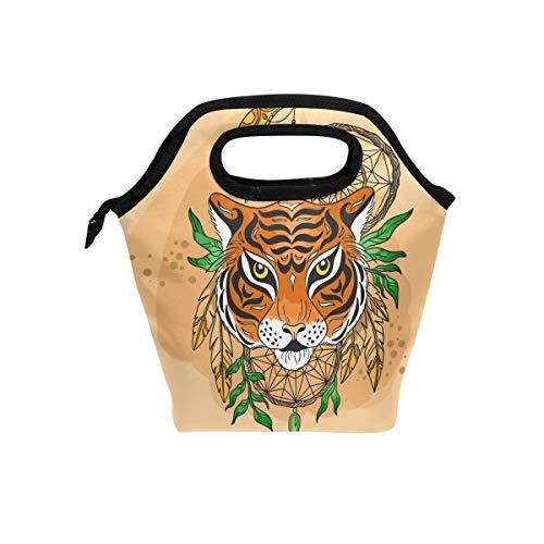 Ahomy lonchera reutilizable atrapasueños Tiger portátil y resistente al agua bolsa de almuerzo para niños hombres mujeres adultos